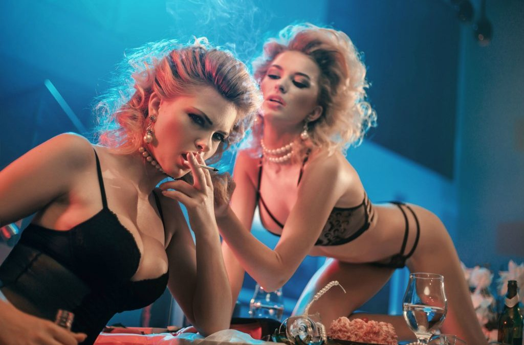Two Lingerie Models Party